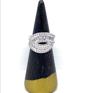 Baguette Wide Band Sterling Silver Diamond CZ Ring